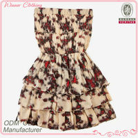 Smart casual clothing ladies flora printed pleated off shouldered sexi dress for young ladies