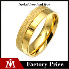 Unique Design Mens PVD Gold Plated Wedding Band Stainless Steel Sandblasted Rings