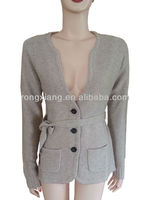 Fashion designs for ladies deep V-neck blend knit sweater suit