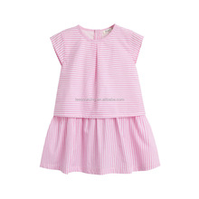 Beautiful short sleeve baby girl cotton plaid fit and flare dress