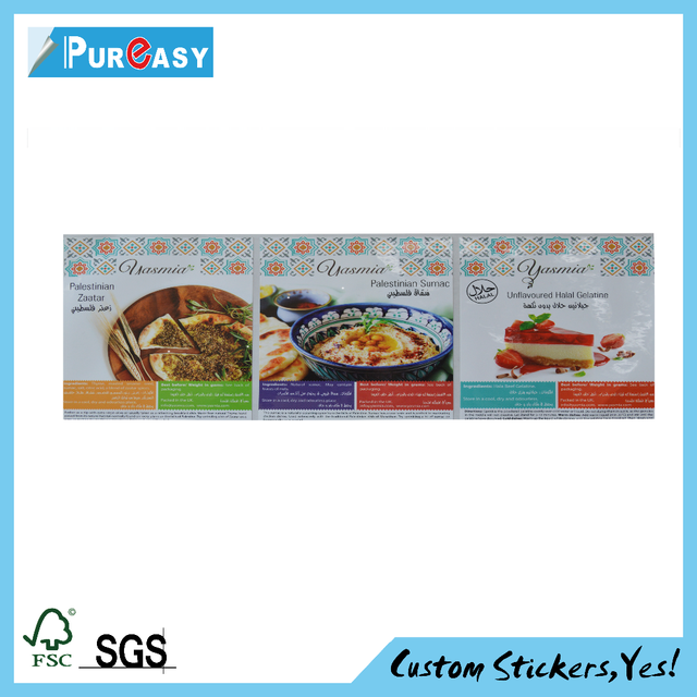 Custom full color printed cake label,pizza packaging sticker sheet