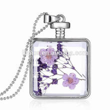 Well design square shape wish glass bottle dry flower necklace floating locket necklace jewelries women