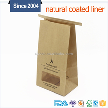 Standing Side Gusset PE Lined Kraft Paper Packaging Quad Seal Flat Block Bottom Coffee Bags with Tin Tie