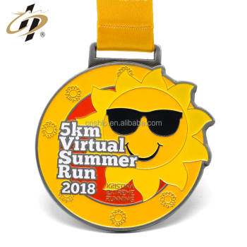 Custom zinc alloy enamel sunflower metal 5km marathon medals