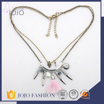 Fashion double custom silver color chain pink tassel necklace