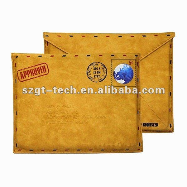 Retro PU Leather Envelope Postcard Pouch Protective Case for iPad3 and new iPad