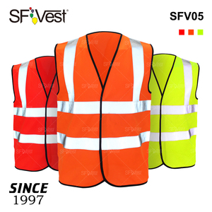 Wholesale 100% Polyester EN20471 Custom Traffic Road Work Construction Security High Visibility Reflective Safety Vest with Logo