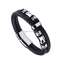 Fashion Jewelry 2017 Stainless Steel Men Leather Bracelets with Magnetic Clasp