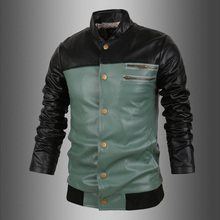 Online Shopping Wholesale Custom <strong>Men's</strong> Heat Pad Green Studded Leather Jacket