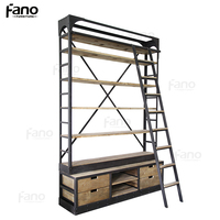 antique furniture vintage industrial bookshelf metal iron frame wood drawers display bookcase with ladder