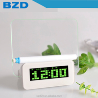 New Promotional Multi-functional USB HUB Digital LED Message Green Board Alarm Transparent LCD Promotional Clock