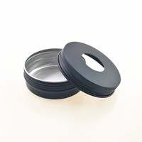 60ml black round shallow aluminum can for Cosmetics