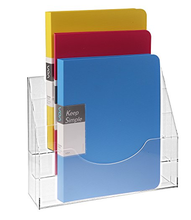 Clear Acrylic 3 Compartment Wall Mounted Document File Organizer Rack Magazine Display Holder