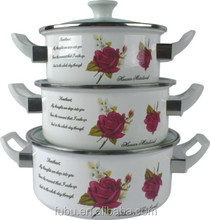 hot sale enamelware cookware set with kinds of different sizes