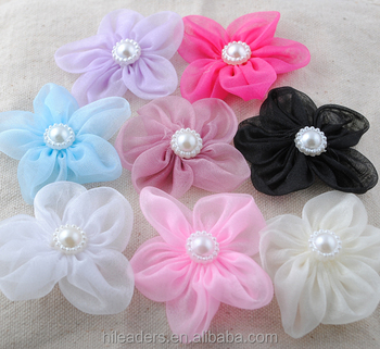 hot sale products organza ribbon flowers decorative sexy girl hair accessories