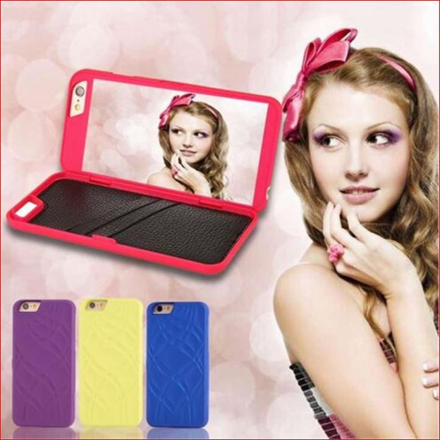 Mobile Phone Accessory Luxury wallet Flip Card slot mirror PU leather phone case for Apple iPhone