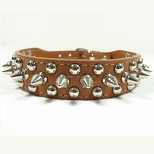 Fashion Cat Pet Belts Genuine Leather Spike Dog Collars