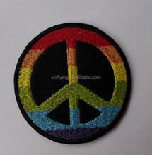 Custom Colorful Peace Iron On Embroidery Patches for Garment