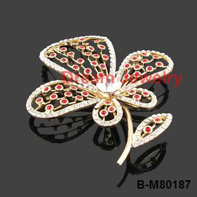 cheap accessories jewelry gold plating clear red crystal flower brooches ladies sherwani