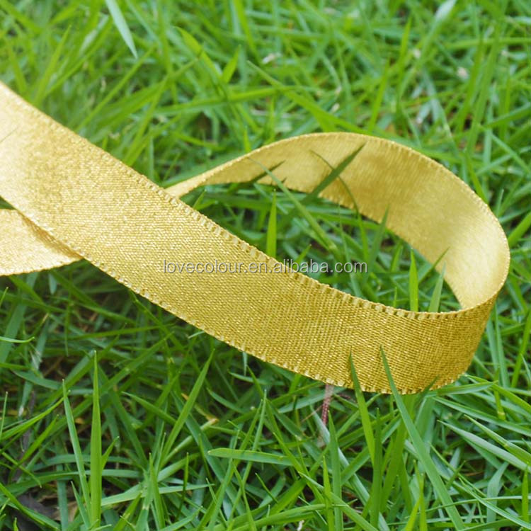 Custom Christmas packing glitter metallic gold ribbon