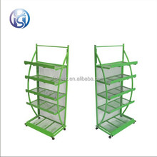 Multiduty customized metal sundry goods display rack with wheels HS-Zl02