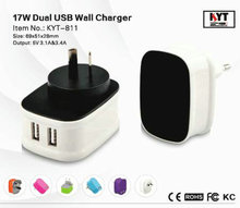 2 USB charger mobile for tablets 2016, handy charger 5V 3.4A with smart IC for huawei y5 ii cun u29, samsung c3