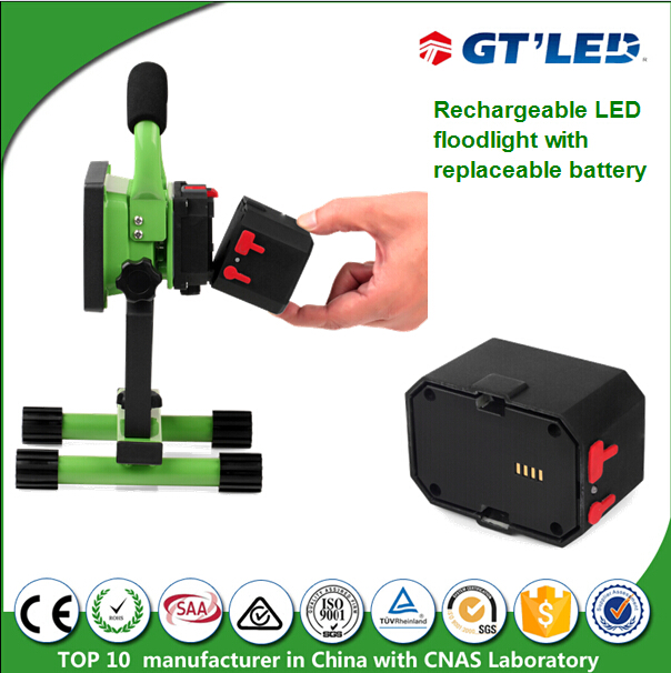 Portable Outdoor Flood Light 10w 20w Battery Changeable Lithium Battery Powered LED Light