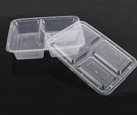 Food grade disposable plastic take away fast food packaging container 3 compartment lunch box for restaurant