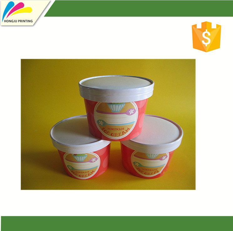 Custom printed 240ml ice cream cup/240ml ice cream packaging cup with paper lid