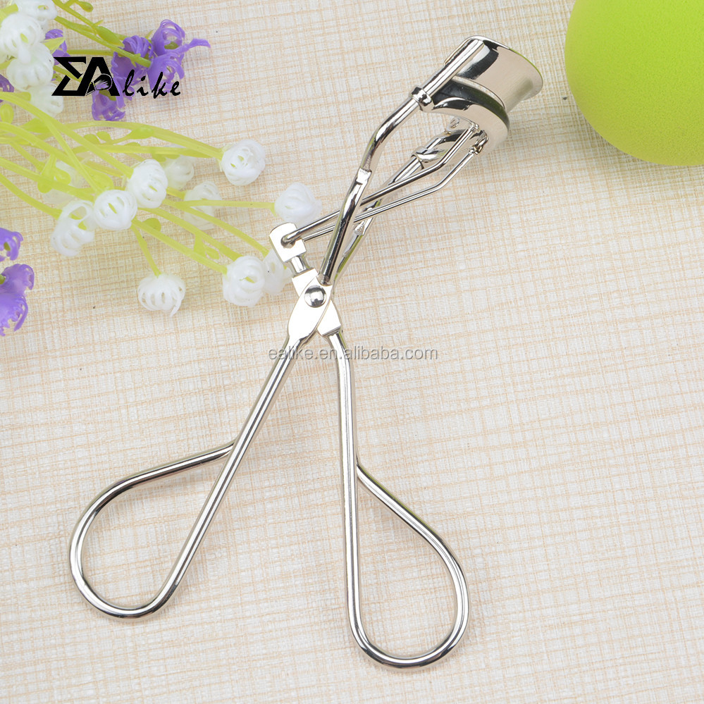 Made of stainless steel silicon pad refills eyelash curler with comb led light