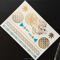 symbols and feathers silver gold holographic blue bronze metallic temporary tattoo sticker