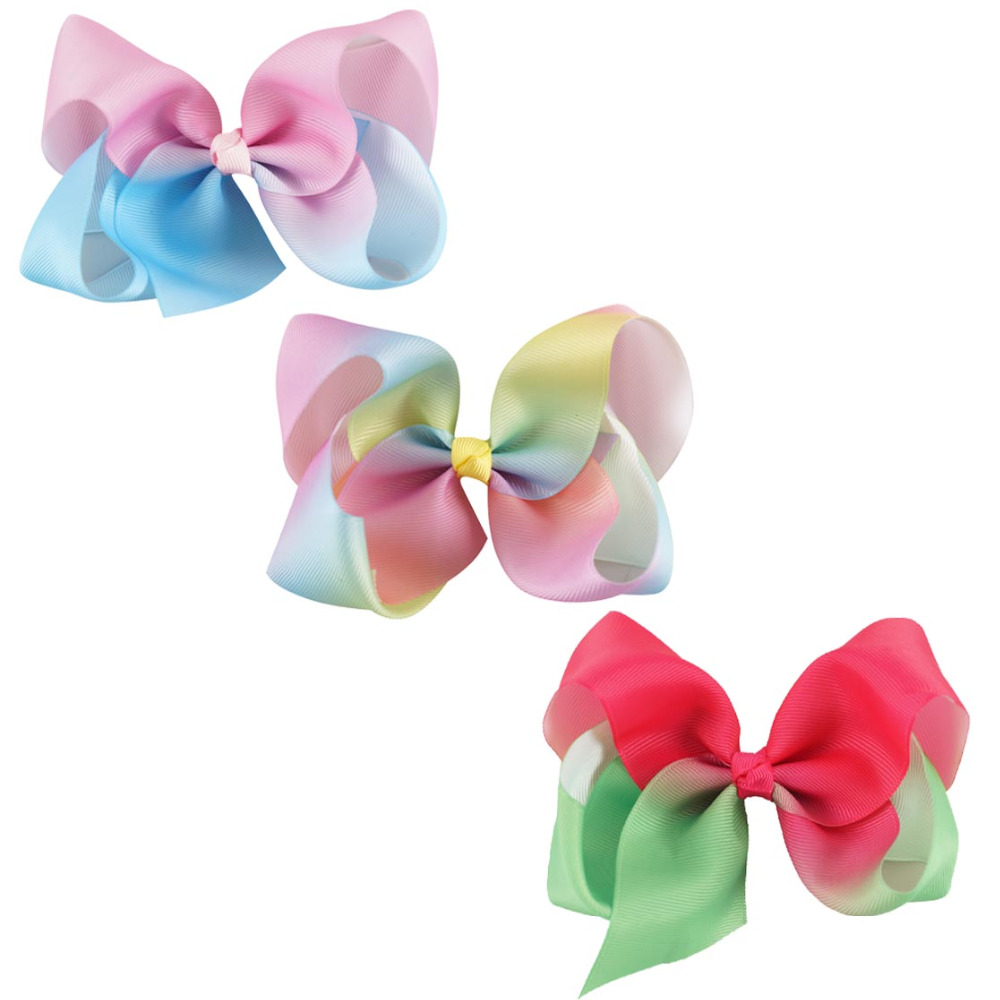 Hot sale rainbow hair clip little girls bows BH1163