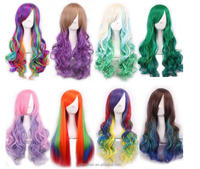 Fashion Long Hair Full Wig Halloween Cosplay Synthetic Hair Wigs in Rainbow Color