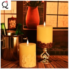 handmade with your own design white wax church candles dancing flame moving wick LED candle/