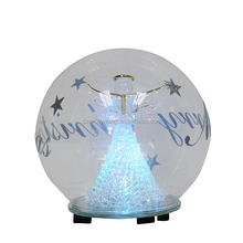 christmas light up glass ornament ball with angel inside