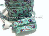 5/8 inch wholesale peacock print fold over elastic trim