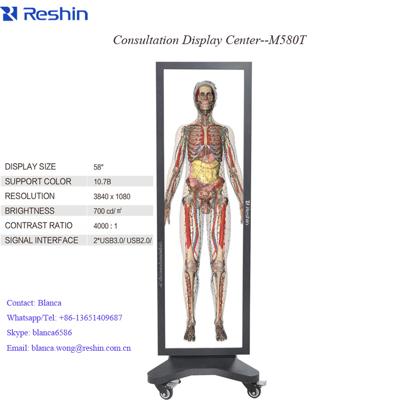 hospital 3D Clinical lcd display monitors, 3840X1080 multi screen IPS integrated anatomy IPS medical monitor