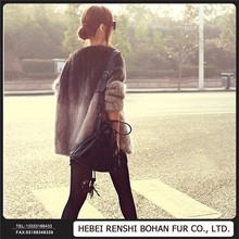 Wholesale Ladies Cotton Knitted Faux Mink Fox Fur Coat For Women