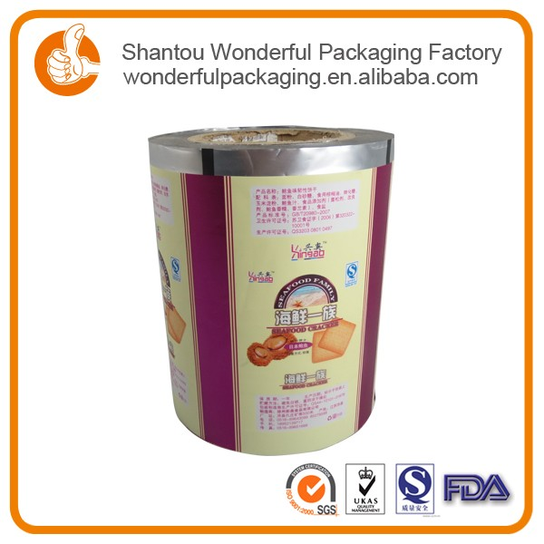 Stand up printed plastic packaging bag film