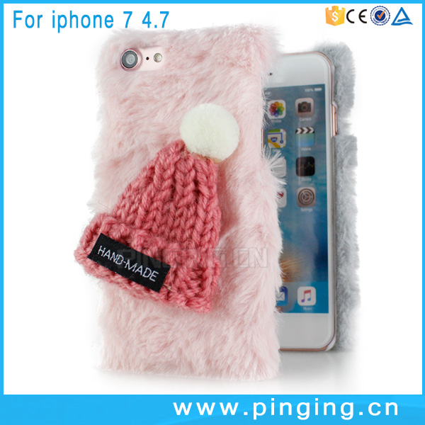 Fashion hat fluffy soft fur phone case cover for iphone 7 , pc hybrid case for iphone 7