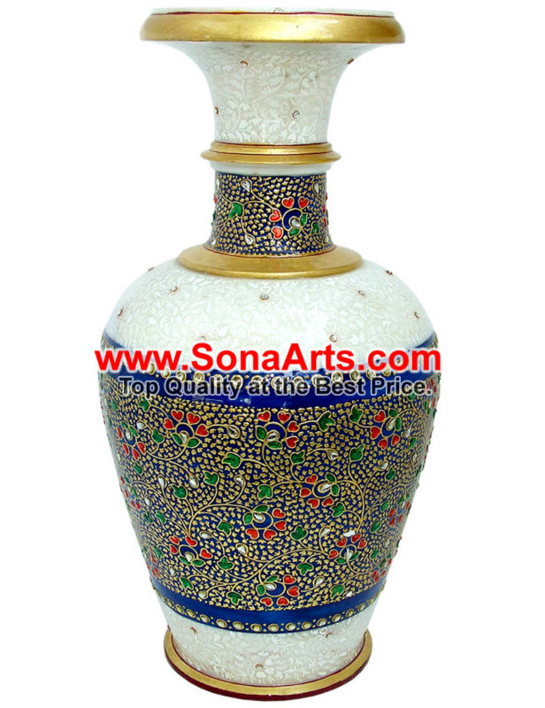 Marble flower pot with kundan painting work