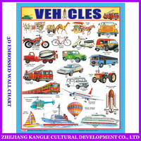 India language PVC environmentally painting educational baby toys wall chart with transportation vehicle sticker
