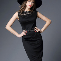 Fashion round neck bodycon sexy black dress lace dresses for women summer 2016