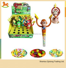 Popular monkey candy tube /monkey tube toy with candy from chinese wholesaler
