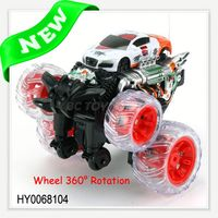 7ch 360 degree rotation stunt kids cheap electric rc cars wholesale for sale with music and light HY0068104