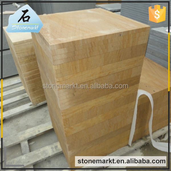 Wholesale yellow wooden vein standard size floor sandstone tiles