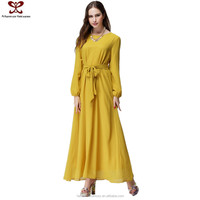 2016 Muslim Long Sleeve Plus Size Chiffon Long Dress Designs Fat Ladies Indian Dress Pictures, Alibaba Fashion Dress