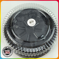 Disposable Nine Part Pet Plastic Round Cake Tray With Lid