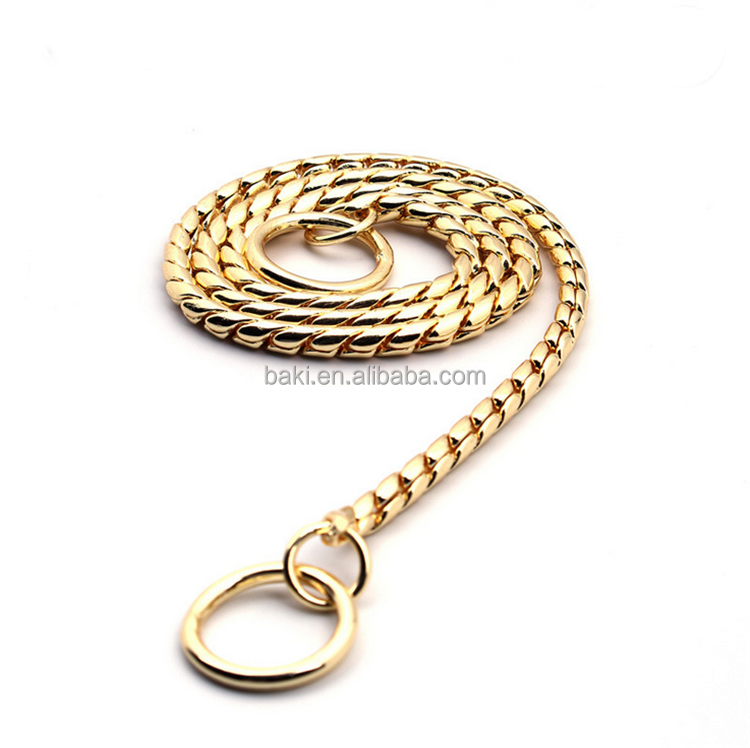High quality gold pet dog choke chain bulk metal snake chain