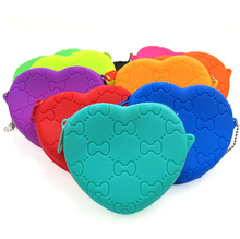 Summer custome silicone coin heart shape bag rubber tote bag